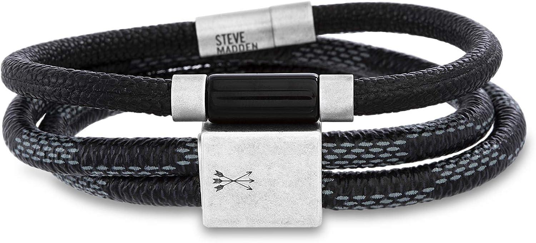 """Steve Madden Woven Blue Leather 7.5"""" Wrap Bracelet for Men in Stainless Steel"""