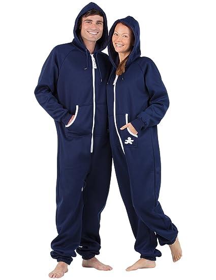 fa8b87fc4c Amazon.com  Joggies - - Navy Blue Adult Footless Hoodie Onesie  Clothing