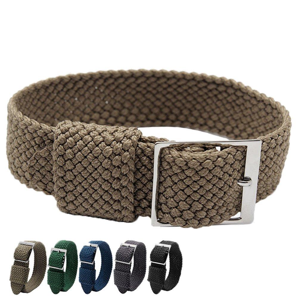 MSTRE nl03 20 mmシンプルなデザイン腕時計ストラップナイロンPerlon Braided Woven Watchバンドステンレススチールバックル 20mm カーキ 20mm|カーキ カーキ 20mm B0712363L5