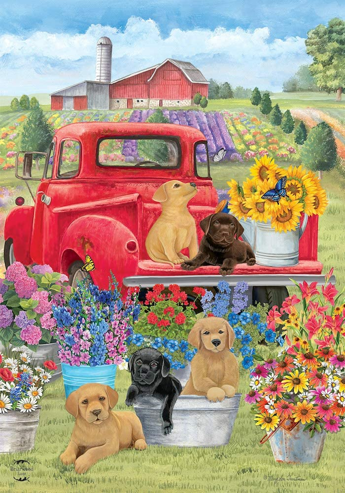 Briarwood Lane Spring Day Puppies Garden Flag Red Pickup Truck Floral 12.5
