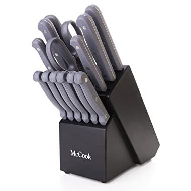 McCook MC32 14 Pieces FDA Certified Knife Block Set with All-purpose Kitchen Shears, Sharpening Steel and Pine Wood Block (Grey)