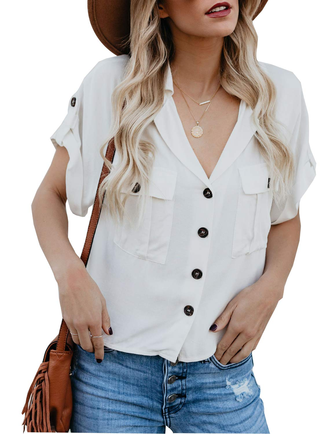 BMJL Women's Solid Button T Shirts Short Sleeve Top Loose Fit Oversize Cuff Edge Summer Tee M White