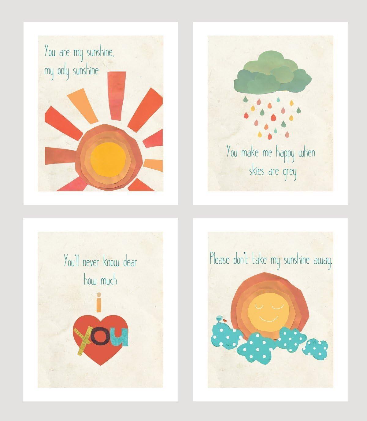 You Are My Sunshine Print Collection (Set of Four 11x14 Inch Print Wall Art Prints), Nursery Decor, Kid's Room Decor, Gender Neutral Nursery Decor, Baby Room, Playroom Decor, Nursery