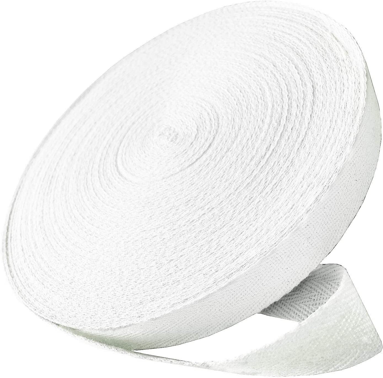 White, 1 Inch Abbaoww 50 Yard Twill Tape Ribbon Natural 100/% Soft Cotton Herringbone Twill Tape