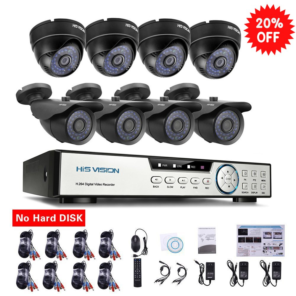 HISVISION 8-Channel HD-TVI 720P 1080N Video Security DVR and 4x 1.0MP Outdoor Weatherproof Bullet Cameras (Metal) 4x Indoor Dome Cameras (Plastic) 100ft 30m Night Vision LEDs with IR Cut NO Hard Drive by HISVISION
