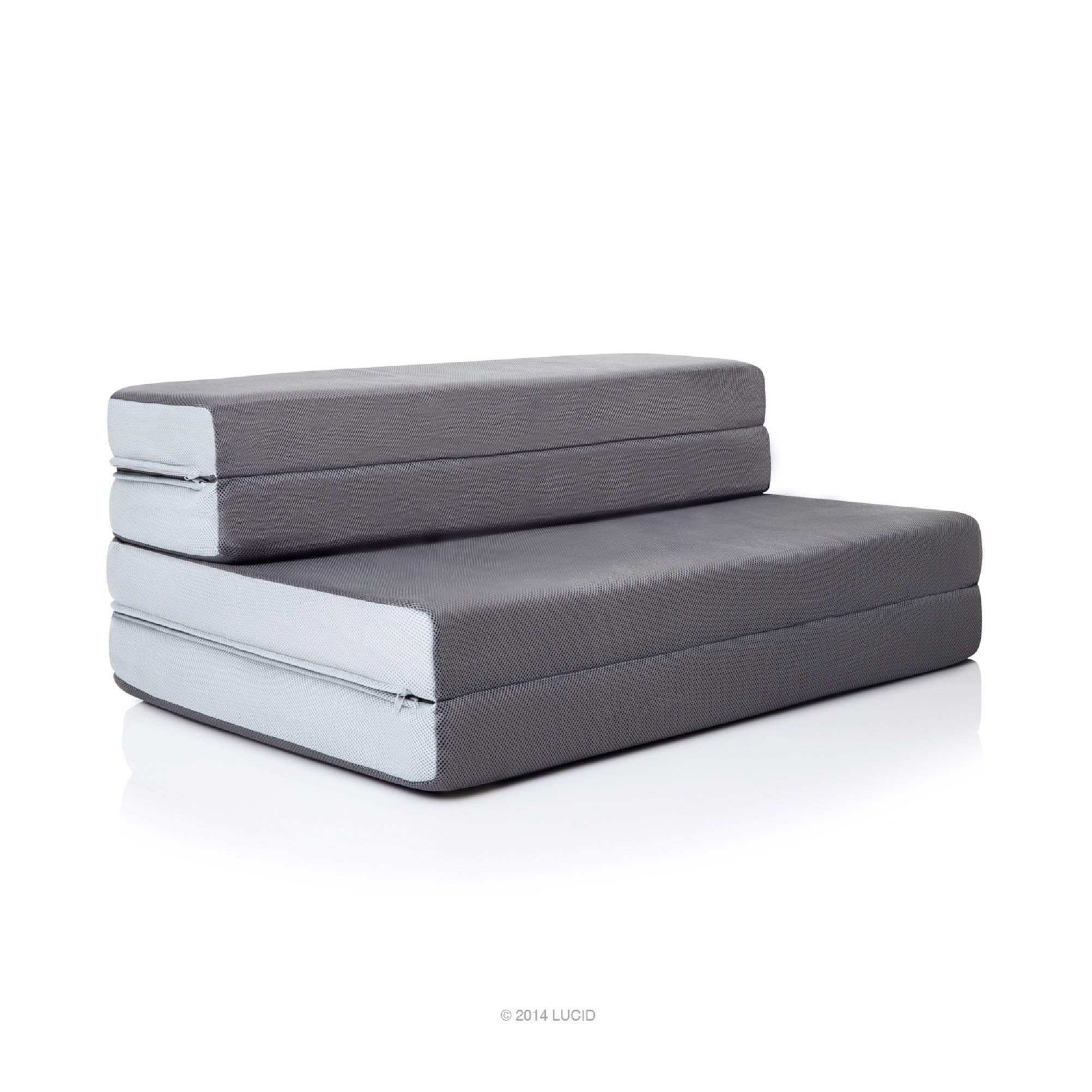 LUCID 4 Inch Folding Sofa and Play Mat - Comfortable and Durable Foam - Washable Cover - Queen