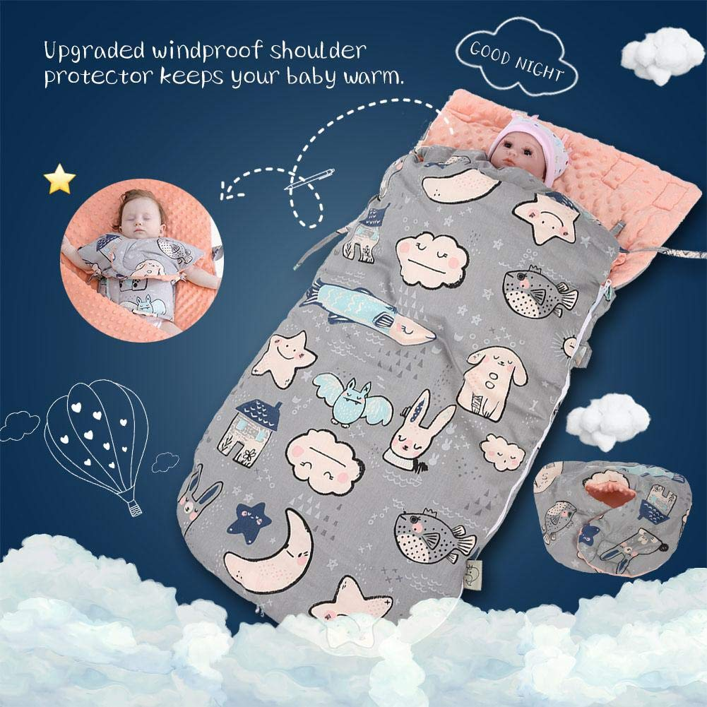 88X46cm Saco de dormir de algodón Súper Suave Recién Nacido Saco de dormir Otoño Invierno Cochecitos de cama Manta Abrigo de algodón para Bebé de 0-12 ...