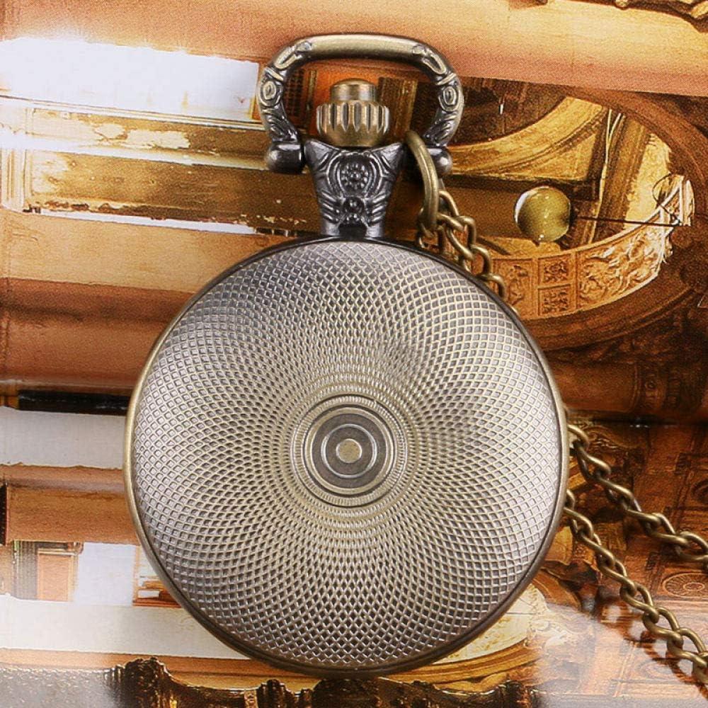 BOOSSONGKANG Orologio da Tasca Ciondolo in Bronzo Antico Stile retrò ingranaggio Piccola Collana Orologio da Tasca al Quarzo Regalo Ste rame