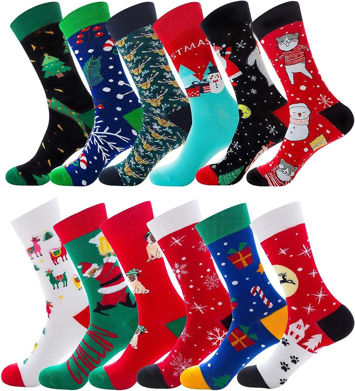 Men's Women's Christmas Holiday Fun Dress Socks Funny Gifts Cute Novelty Cotton Mid Calf Crew Large Socks
