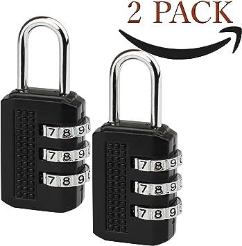 Savior Pack 2 Candado - Cerradura de combinación de 3 dígitos para gimnasio, lockers deportes, escuela y