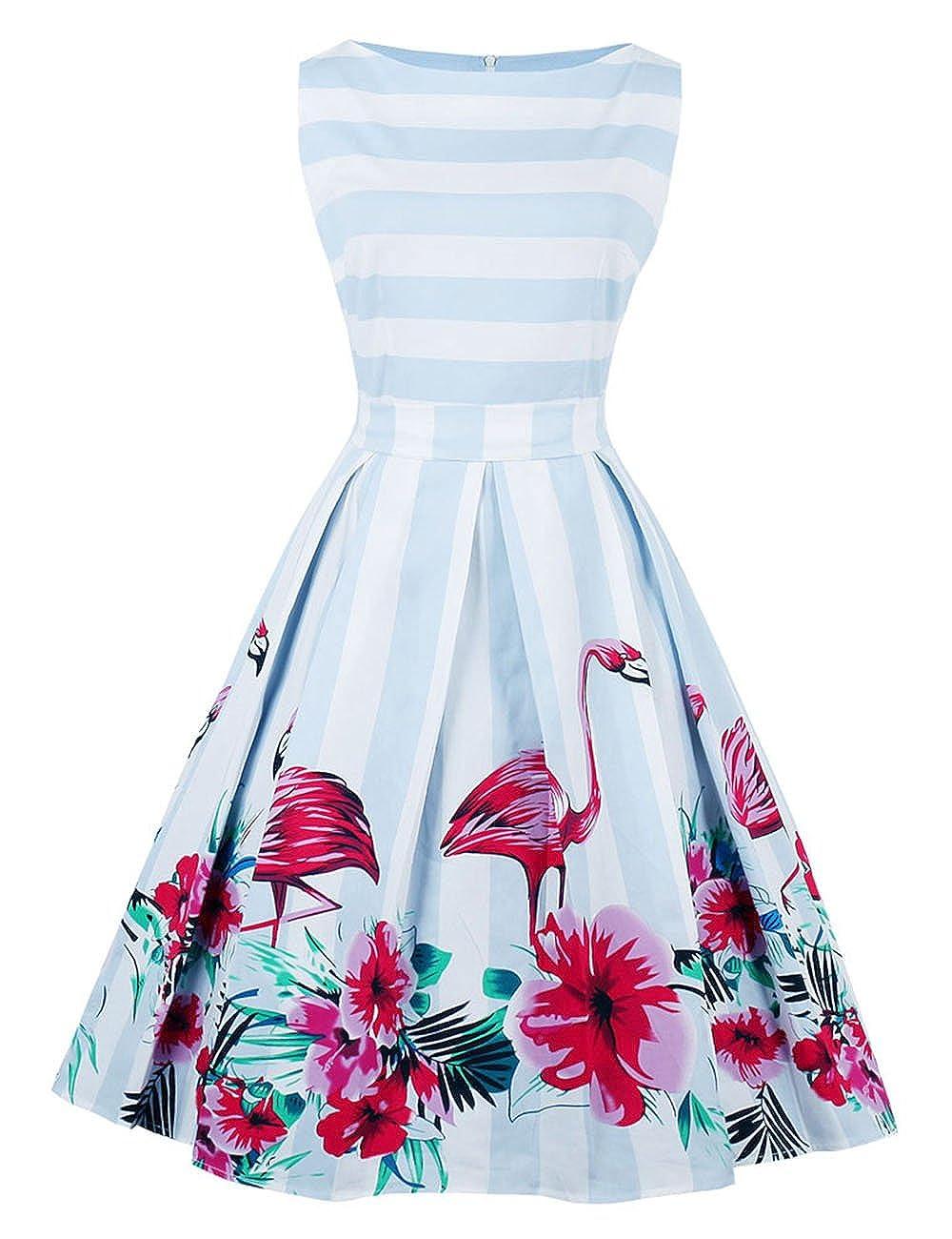 Elfremore Striped Sleeveless Dress Flamingo Print Slim Waist Swing Dress