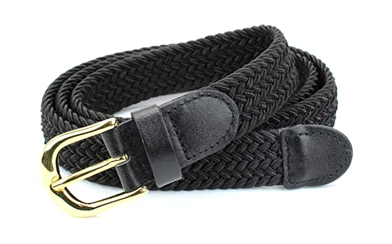 f994245ce148b Women's Braided Elastic Woven Stretch Belt Solid Color Gold Buckle and  Leather Tip (Black-