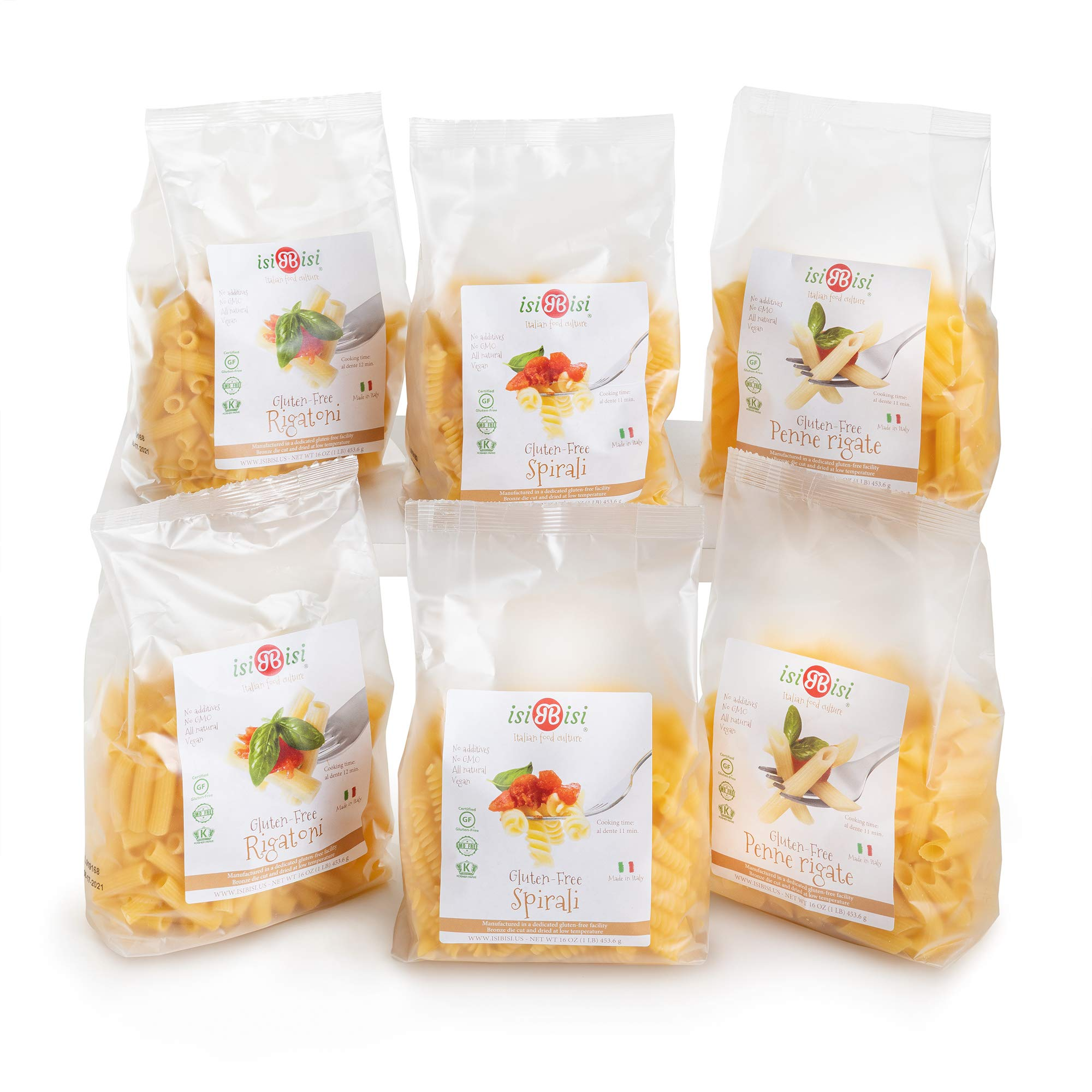 isiBisi Gluten Free Pasta Sampler - Rice and Corn Flour - Made in Italy (80 oz - 6 Pack) by isiBisi