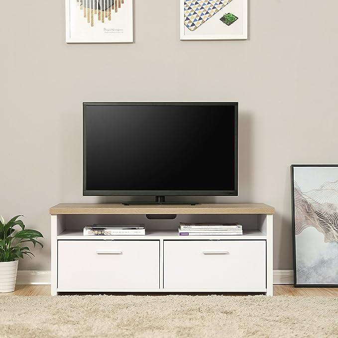 VASAGLE Mueble para TV con Compartimentos y Puertas, Mesa Baja para Televisor, Receptor, Reproductor DVD, para Comedor, Blanco y Color Natural LTC01WN