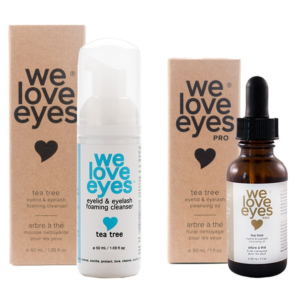 All Natural Tea Tree Eyelid Cleanser Kit (Cleansing Oil 30 ml & Foaming Cleanser 40 ml) - Moisturizes, Reduces Itching and Inflammation, Blepharitis, Demodex, Dry Eyes Relief, Paraben and Sulfate Free We Love Eyes