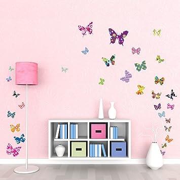 Decowall DW-1201 38 Farbige Schmetterlinge Tiere Wandtattoo ...