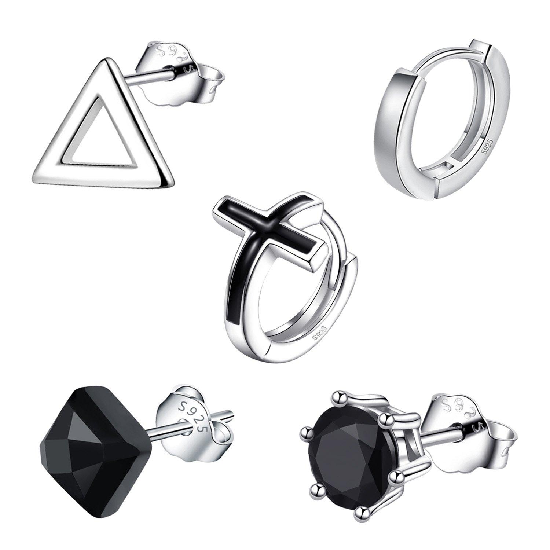 b40395a9cbf81 Amazon.com: Earrings for Men, 5 SINGLE Mens Hoop Stud Earrings Set ...