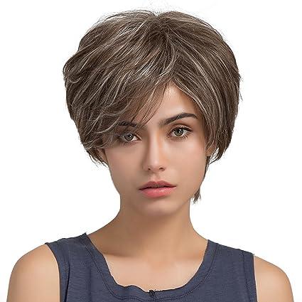 Peluca de cabello corto encantadora, largo hasta los hombros ...