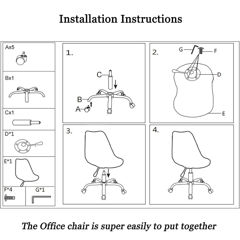 Svängbar stol liten verkställande kontorsstol ergonomisk dator skrivbord stol justera rullstol med andningsbart linnetyg bekväm svamp för sovrum konferensrum, blå Färg