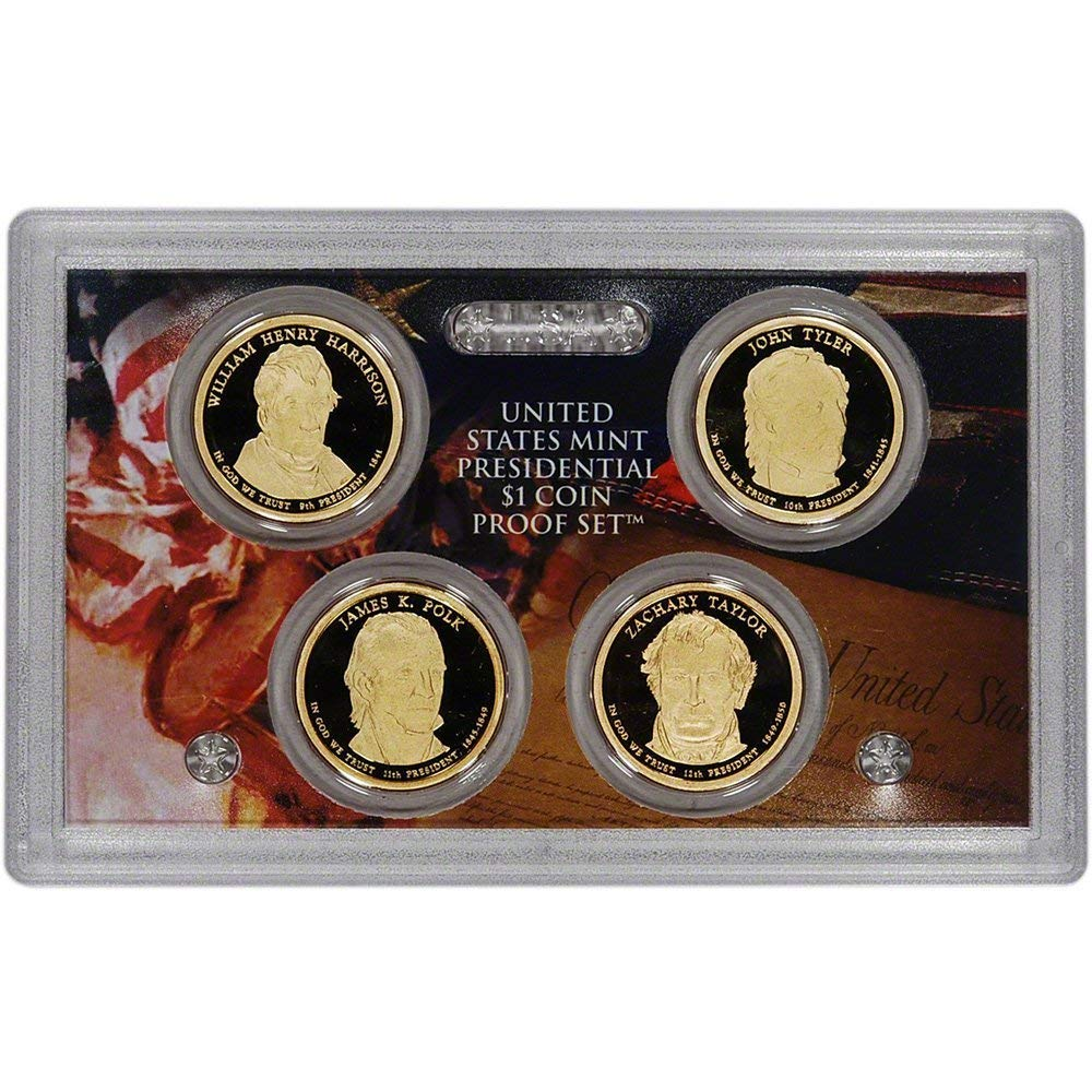 2008 S Presidential $1 Coin Proof Set 4 Dollars Box and COA as Issued by US Mint