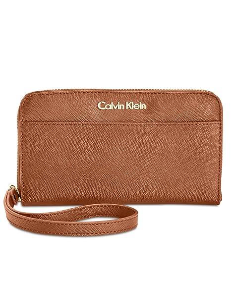 Calvin Klein - Cartera de mano con asa para mujer marrón Luggage: Amazon.es: Zapatos y complementos