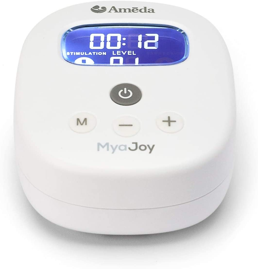 Ameda MYA Joy Portable Hospital Strength with 24mm Flange Wideneck Storage Bottle and Rechargeable Battery White