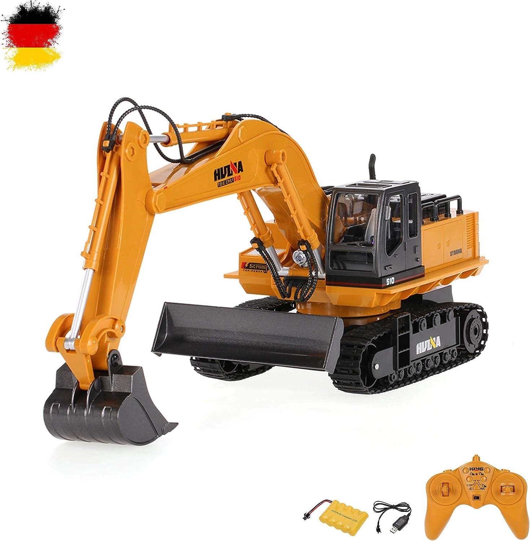 Excavadora de orugas con control remoto de 11 canales, excavadora con cabina giratoria, fácil control, vehículo de obras, juego completo con control remoto, batería y cargador, nuevo y original