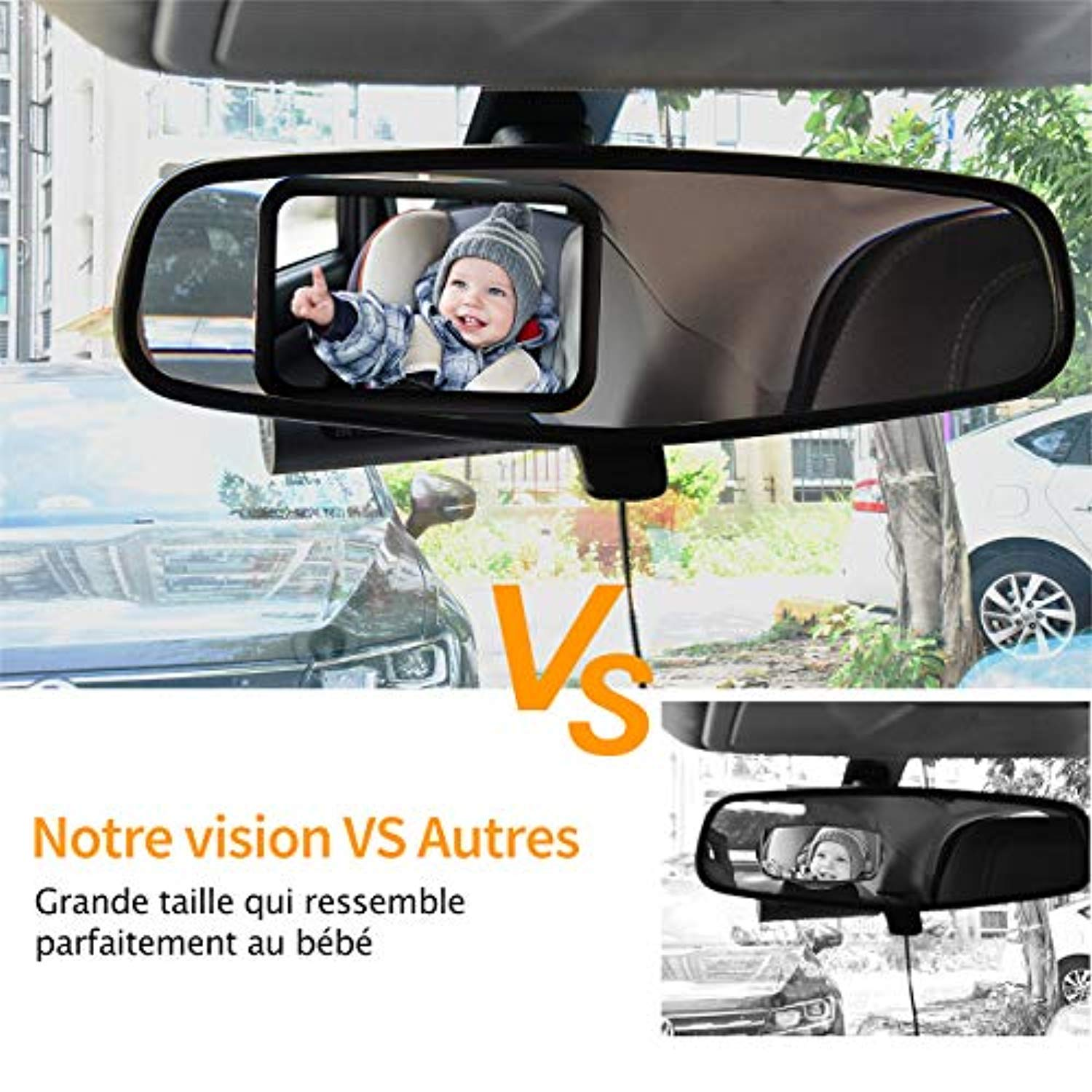 Baby Car Mirror,Safety Car Seat Mirror Wide View Infant in Rear Facing Car Seat Mirror with Crystal Clear Shatterproof Adjustable Baby Backseat Mirror for Car
