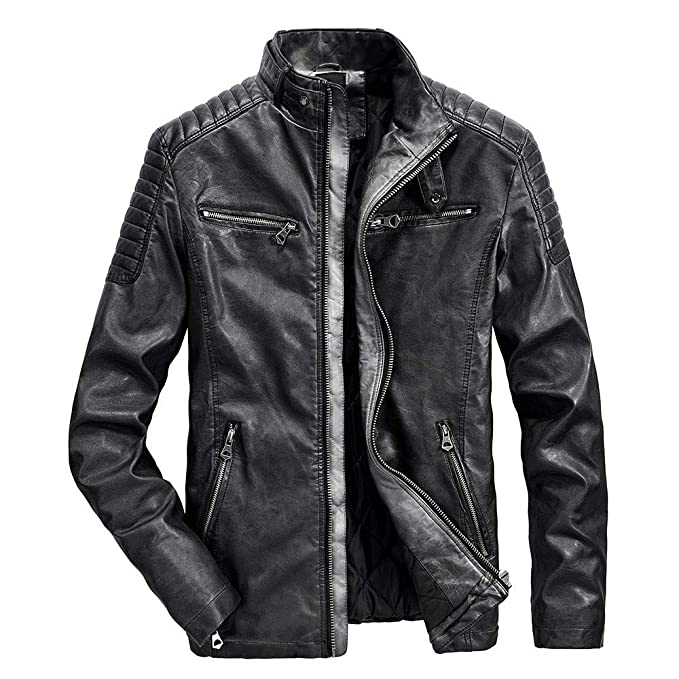 low priced 52591 61594 BaZhaHei Uomo Top,Giacca di Pelle Uomo,Uomo Inverno Caldo ...