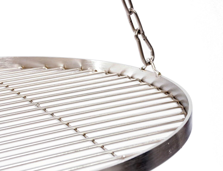 Grillrost 40 cm mit Kette Edelstahl f/ür Schwenkgrill 3 Bein Grill Rost 10 mm Stababstand BBQ