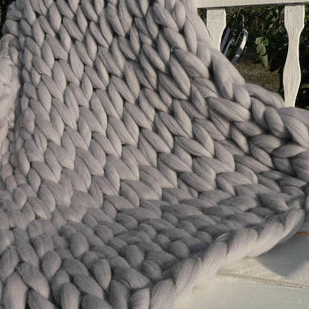 79x79in(200x200cm) Chunky Knit Blanket,Blanket,Chunky Knit Throw King Queen Size,Chunky Throw,Chunky Blanket,Giant Knit Blanket,Knitted Blanket,Arm Knitted Blanket by Cozy Chunky Blanket (Image #8)