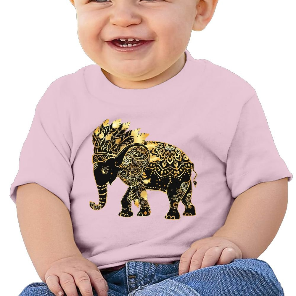 FFWWLHR Indian Elephants Baby Short Sleeve Tees Unisex Graphic Merry Christmas Cotton Baby Toddler Tops