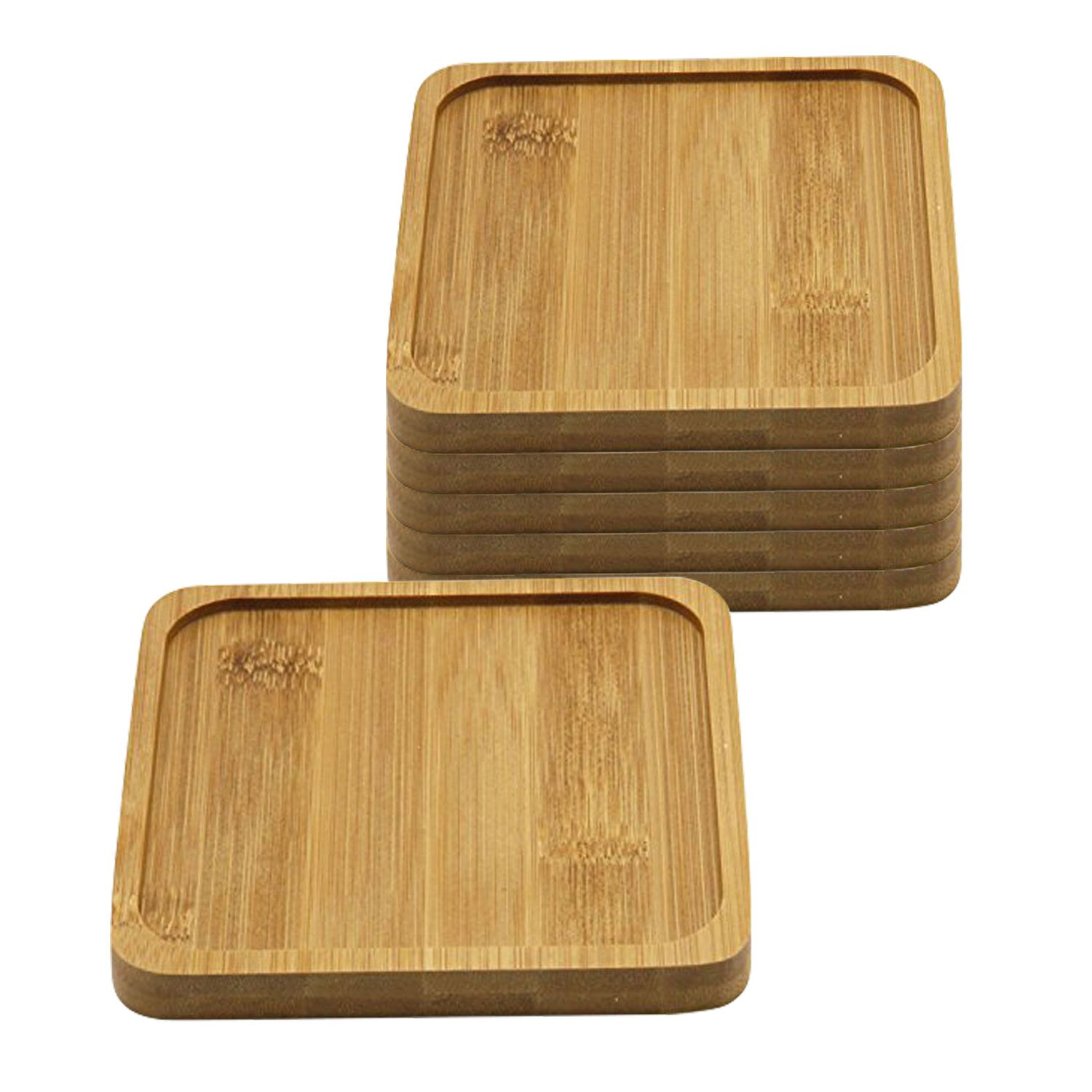 T4U 5 Inch Bamboo Square Bamboo Tray Sandy Beige Set of 6 by T4U