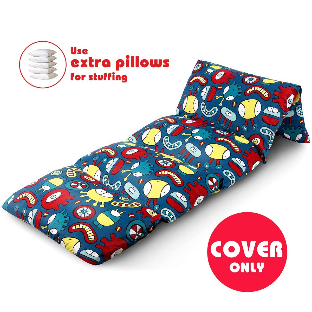 BROLEX Floor Lounger Pillow Bed Cover for Kids,(Pillow Not Included) Comfortable Seat for Reading, Naps, Watching TV, or Sleepovers,Playing, Soft Minky Fabric, Space Aliens.