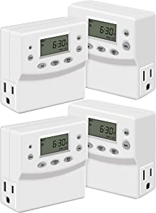 TOPGREENER Heavy Duty 7 Day Programmable Plug-in Digital Timer, Dual, Lights, Lamps, Electrical, Grounded Outlet, Random and Daylight Savings, 120V 15A 1200W, TGT07, White, 4 Pack
