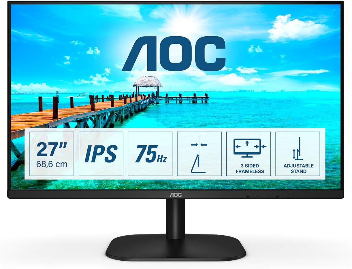 AOC 27B2DA 27 inch IPS Monitor - Full HD 1080p, 4ms Response, Built In Speakers, HDMI, DVI