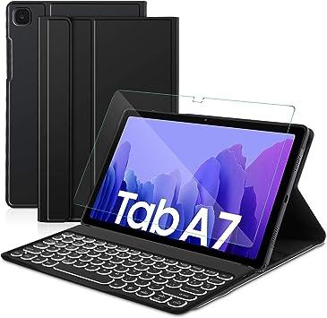 Sross Funda con Teclado para Samsung Galaxy Tab A7, Español Ñ Samsung Galaxy Tab A7 10.4 Pulgada 2020 SM-T500/T505 Teclado con Protector de Pantalla, ...