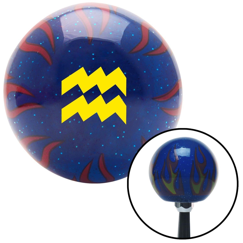 American Shifter 297970 Shift Knob Yellow Aquarius Blue Flame Metal Flake with M16 x 1.5 Insert