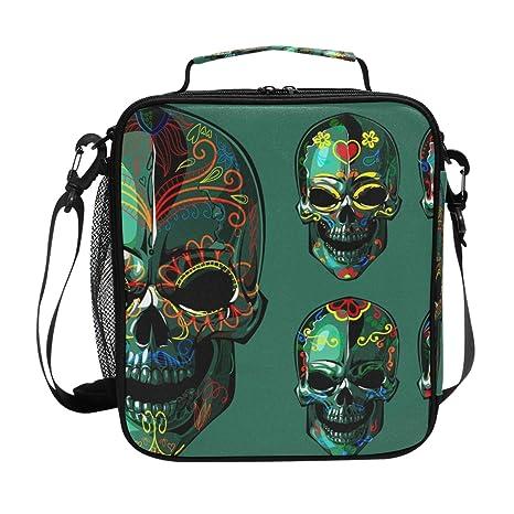 f7f00ac61ca4 Amazon.com: LORVIES Day Of The Dead Sugar Skull Lunch Tote Bag ...