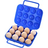 Egg Carriers with Handle, 12 Eggs Shockproof Container for Camping Travel, Portable Eggs Storage Case for Outdoor Hiking…