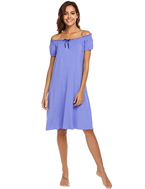 70f8ced82 Ekouaer Women s Victorian Nightgown Off The Shoulder Sleepwear Vintage  Lounge Dress