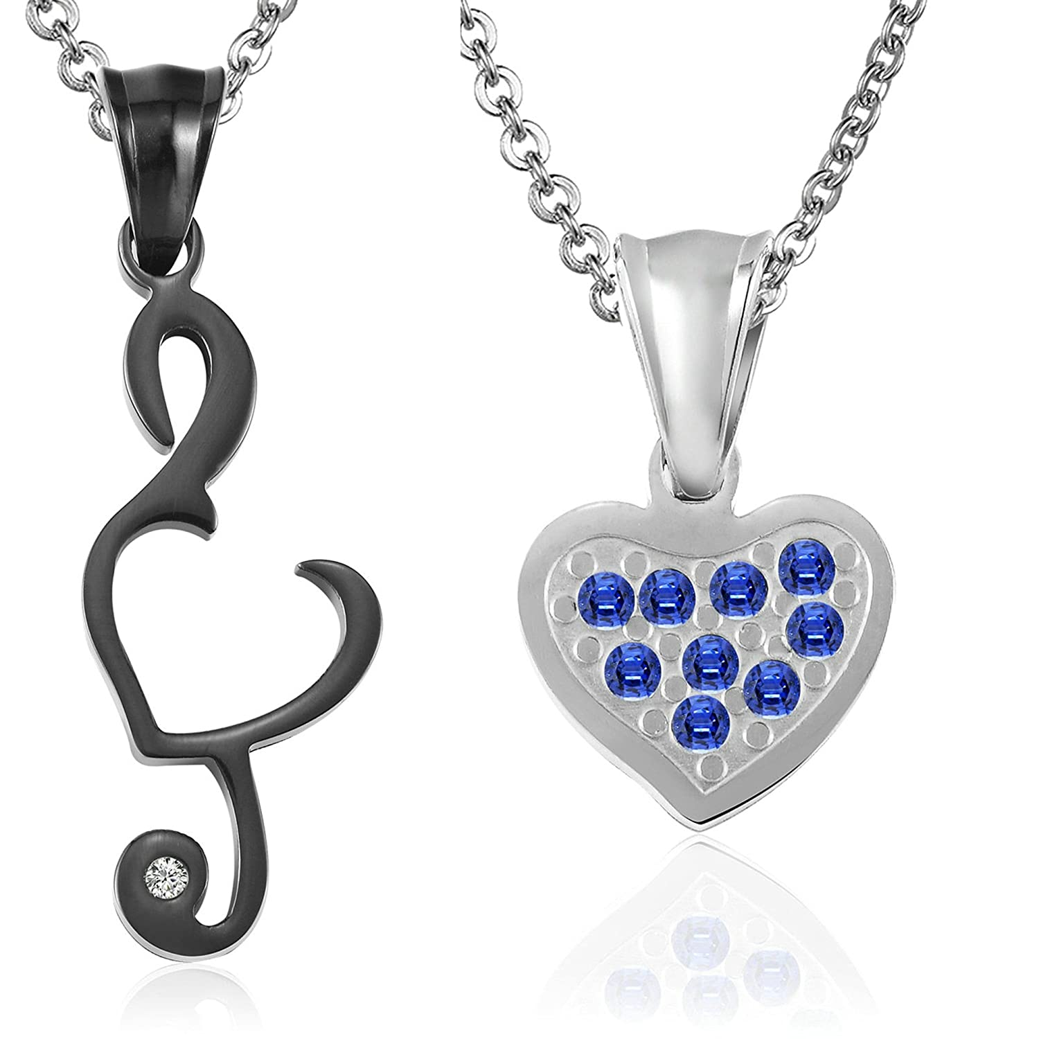 ANAZOZ Fashion Jewelry Stainless Steel Necklace Music Note /& Heart 4 Styles Unisex