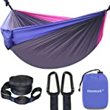 Camping Hammock, Double Hammock with 2 Tree Straps(16+2 Loops), Two Person Hammocks with 210T Parachute Nylon for Backpacking