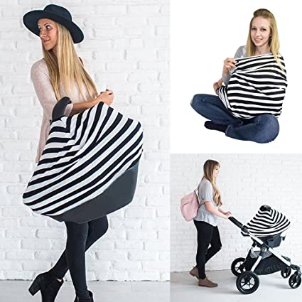 Baby Nursing Breastfeeding Cover Multi-Use Flexible Unisex Super Soft Cotton Baby Shower Gift Gray and White