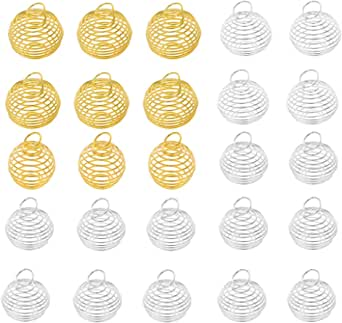 FANKUTOYS 40 Pcs Silver Plated Spiral Bead Cages Pendants for Jewelry Making,Size 25mm,30mm Color Silver,Gold