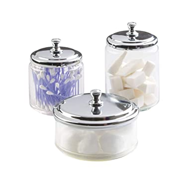 mDesign Bathroom Vanity Glass Apothecary Jars Cotton Balls, Swabs, Cosmetic Pads - 3pc Set, Clear/Chrome