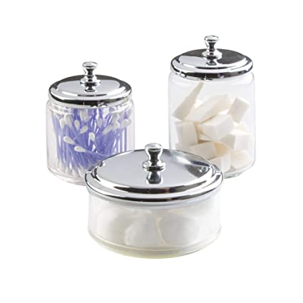 MDesign Bathroom Vanity Glass Apothecary Jars Cotton Balls, Swabs, Cosmetic  Pads   3pc Set