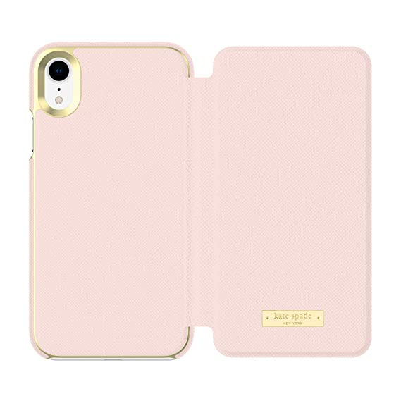 buy online 1aed2 c2450 Kate Spade New York Phone Case   for Apple iPhone XR   Protective Phone  Cases with Folio Design and Drop Protection - Saffiano Rose Quartz/Gold  Logo ...