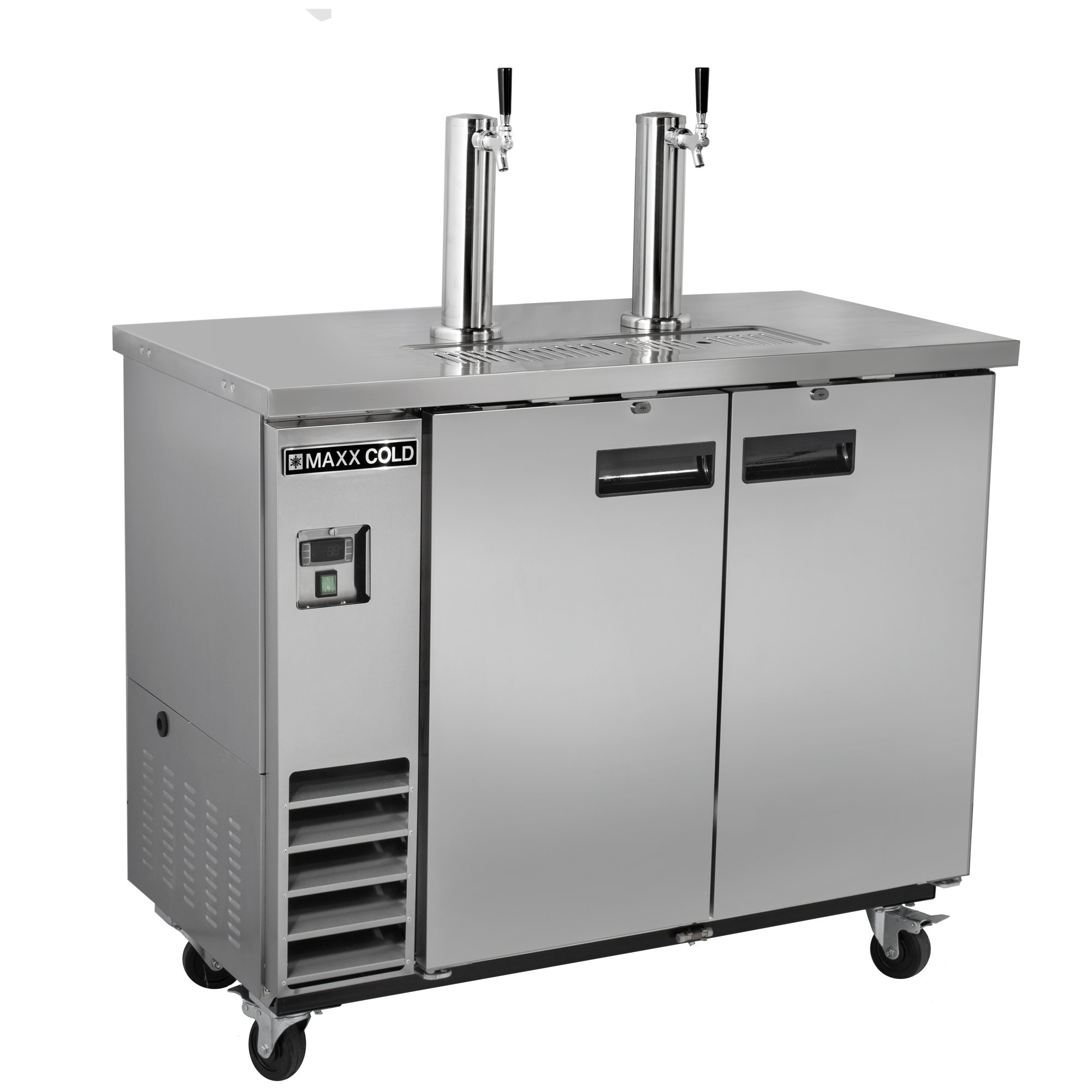 Maxx Cold MXBD48-2S Commercial Stainless Steel NSF Bar Direct Draw Kegerator Beer Dispenser Cooler with 2 Towers Taps Holds 2 Half 1/2 Size Kegs, 47.5 Inch Wide 10.5 Cubic Feet , Silver
