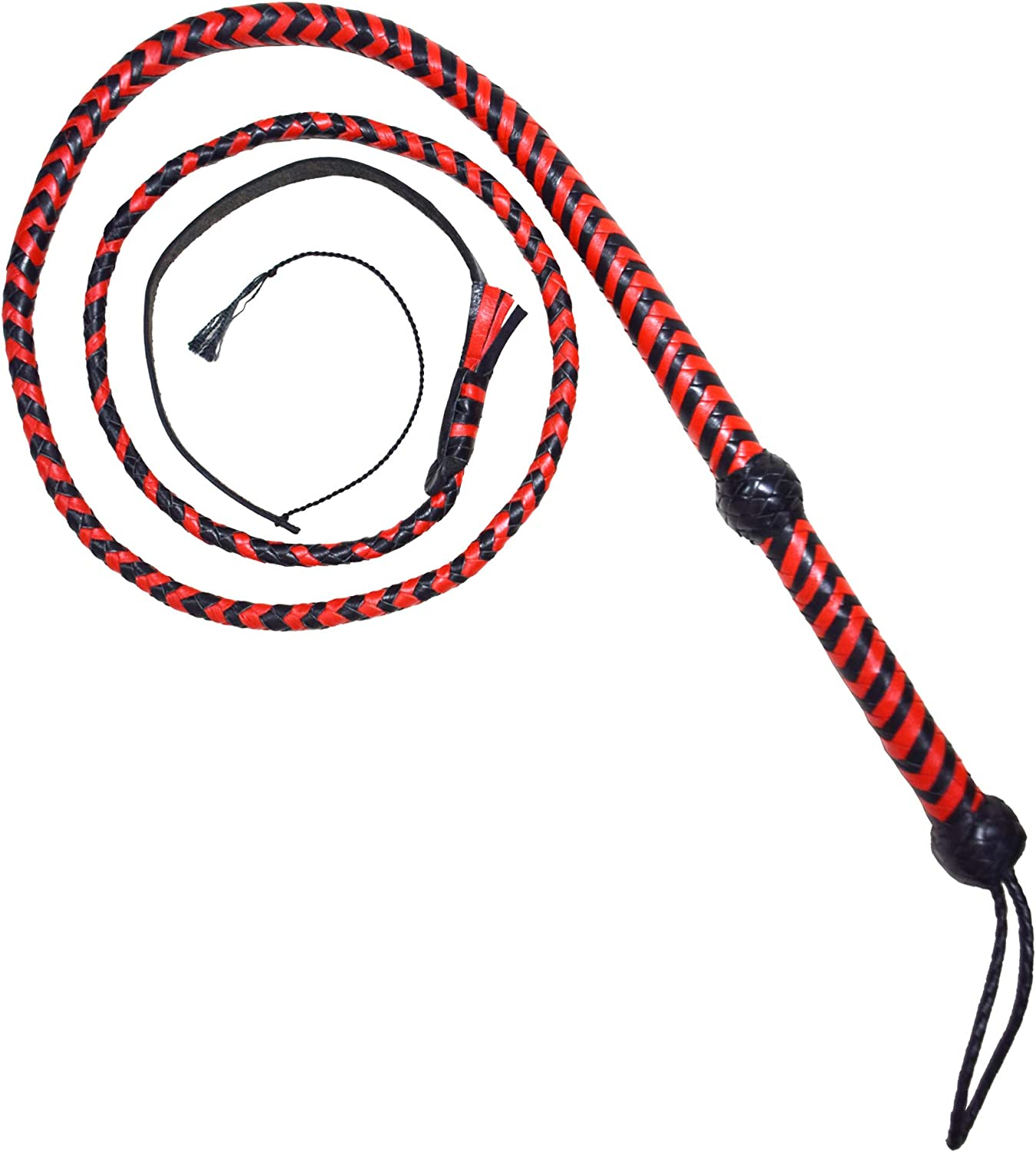 AAYLANS Black Single Tail Flogger Bull Whip with Small Paddle ON The TOP Made of Cow Hide Leather 3 Ft Long /& 12 PLAITS